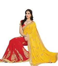 Buy Yellow, Red embellish Chiffon, Fancy Jacquard Designer Saree With Blouse party-wear-saree online