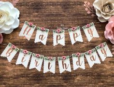 Excited to share this item from my shop: Beautiful Hand made Floral Happy Birthday Banner Diy Birthday Banner, Happy Birthday Banners, Happy Birthday Wishes, Birthday Decorations, Birthday Ideas, Happy Birthday For Her, 16th Birthday, Birthday Parties, Happy Birthday Vintage