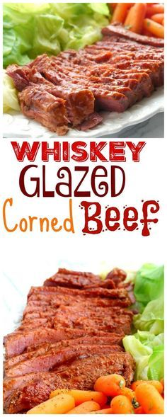 Whiskey Glazed Corned Beef- sauce can be made lower carb by dubbing low sugar ketchup and Swerve sweetener for sugar Corned Beef Brisket, Corned Beef Sauce, Corn Beef Brisket Recipe, Corned Beef Recipes, Meat Recipes, Cooking Recipes, Corned Beef Glaze Recipe, Glazed Corned Beef And Cabbage Recipe, Roasted Corned Beef