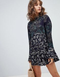 3567 New Free People Lady Luck Floral Printed Long Sleeved Tunic Top X  Small XS   52a614b806b