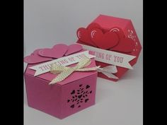 Window Box Thinlit- Stampin' Up Valentines Gift Box, Valentine Theme, Diy Gift Box Template, Hexagon Box, Christmas Gift Baskets, Fun Fold Cards, Stamping Up Cards, Scrapbooking, Cardmaking