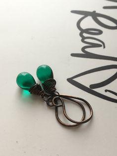 Emerald Green Drop Earrings Bead Teardrop Copper Wire Wred Earring Briolette Uk Er