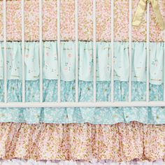 Coral and Gold Sparkle Bumperless Crib Bedding