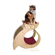 Cat Shaped Scratching Post with Cat Bed & Perch by Cattino on Etsy