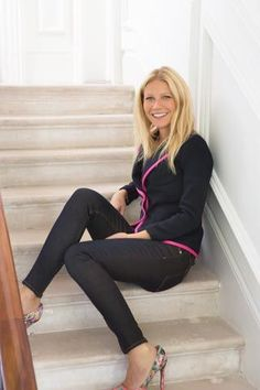 Gwyneth Paltrow showing off her GOOP items made in collaboration with the Rag & Bone boys