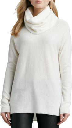 Vince Drape-Neck Cashmere Sweater, Winter White on shopstyle.com