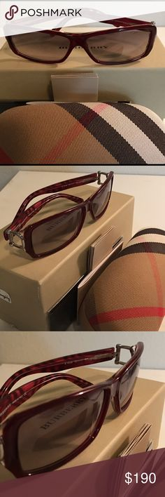 Burberry Sunglasses Burberry, Model #4008 3017/11 60[]13 125 Frame color: Bordeaux                                      Lens color: Gray Shape: square  Release: 2005 NWT- never worn. No flaws.  Case, box, warranty, and cloth included.      Zebra stripes. All original. 100% Authentic. ><posted on Víntęd. Burberry Accessories