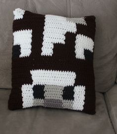 Crochet Minecraft Cow Pillow by MegaLOTT on Etsy