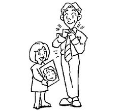 Dibujo De Padre E Hijo Se Estrechan La Mano Para Colorear Dibujos