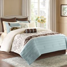 Madison Park Temsia 12-Piece Comforter Set in Blue/Brown - BedBathandBeyond.com