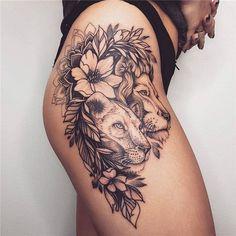 Hip Thigh Tattoos, Floral Thigh Tattoos, Dope Tattoos, Feminine Tattoos, Trendy Tattoos, Popular Tattoos, Body Art Tattoos, Girl Tattoos, Sleeve Tattoos