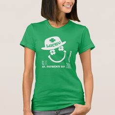 Lucky. Fun Smiley Face Design St. Patrick's Day T-Shirts and Sweatshirts with Personalized Text, City Name , Year and Date. Matching cards and other products available in the Holidays / St.Patrick's Day Category of the Mairin Studio store at zazzle.com