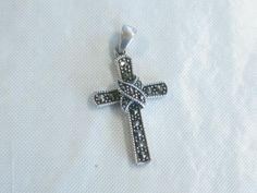 Vintage Sterling Silver Marcasite Cross, Criss-cross Accent, signed PD, 2.36 gr. #signedPD #Pendant