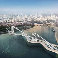 """""""From the spartan to the utterly futuristic, designs for a new pedestrian and bicycle bridge across the #RiverThames in London have been flooding in. To be…"""""""