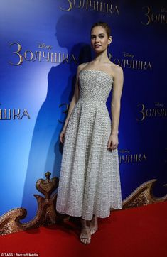 Still a princess: Lily James stuns in a Nicholas Kirkwood Spring 2014 couture gown at a special screening of Cinderella in Moscow