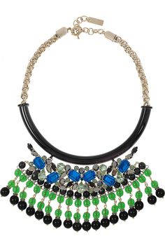 #Etro Crystal and bead-embellished gold-plated #necklace