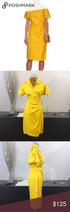 Max Mara Yellow Cotton Fred Retro Dress Max Mara Yellow Cotton Fred Retro Dress with Anchor Buttons. Perfect for pin up girls! Some minor staining inside of collar, should come out with first wash. MaxMara Dresses Midi