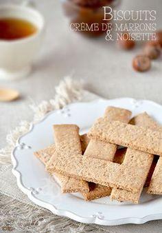 Biscuits with chestnut cream & hazelnuts Biscuit Cookies, Biscuit Recipe, Kinds Of Cookies, Good Food, Yummy Food, No Cook Desserts, Seasonal Food, Vegan Treats, Biscotti