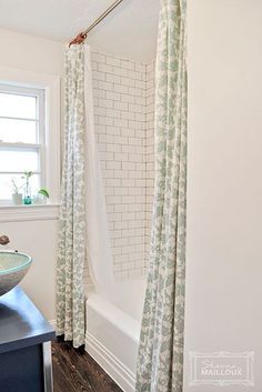 Double Shower Curtain (love the subway tile with grey grout, the wood floors, and the fabric). bathroom