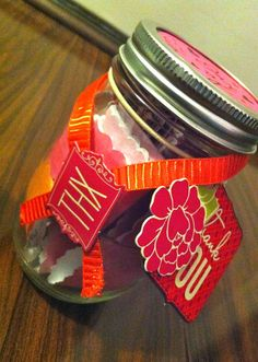 """Thank You Jars - a wonderful, inexpensive DIY sentimental gift to parents, spouse, or grandparents. You write down individual thank you's on scraps of paper, like """"thank you for always writing notes for me in my school lunches when I was a kid"""". Fill the jar with each thank you, then decorate, and viola!"""