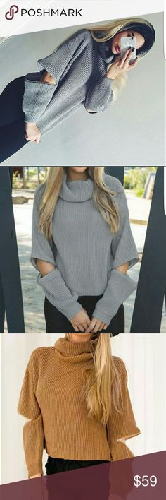 Zipper Sleeve short sweater Fashion women winter grey turtleneck open zipper sleeve knitted Oversized sweater short pullover  Loose Casual Fit Two colors are available, grey and brown Both in Size SMALL!! NOT LF, Just very similar to what sold out on LF LF Sweaters Cowl & Turtlenecks
