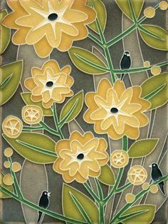Tropicana in Grey, Motawi Tiles - god! This would be so perfect in a bathroom or in a small corner of the kitchen (so SO cute!)