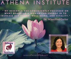 """""""My research has consistently focused on what behavior a woman can engage in to increase her power, well-being, and vitality"""" –Dr. Winnifred Cutler, Read more about the Athena Institute's research on women's wellness: http://www.athenainstitute.com/messages/mission.html #women #health"""