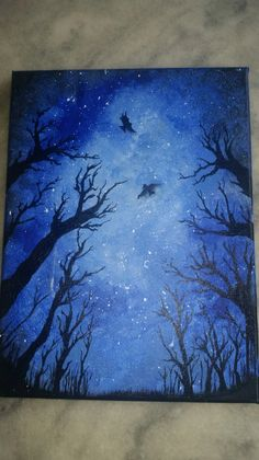 Very easy acrylic painting for beginners.  Use only 4 colors: white, black, dark blue, light blue