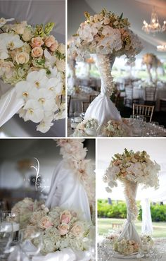 WOW Centerpieces! Love the phalaenopsis orchids!