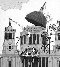 Heath Robinson illustration (on LookSeeNow: Tim Lewis' fantastical imagined machines made real)