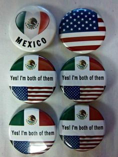 Mexico Mexican Flag Metal Craft Sewing Novelty Buttons Set of 4