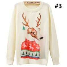 Winter Cute Rabbite Printing Long Sleeve Lady Sweater SP166962