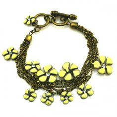 Bronze Multi Chain Link Decor Flower Pendant Bracelet