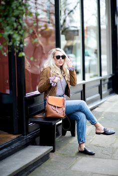 Dressing down designer | mediamarmalade | mom jeans, chloe faye backpack, gucci princetown loafers, whistles suede jacket | designer | Chloe Bags | fashion blogger | style inspiration