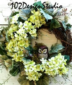 OWL Wreath, Autumn Floral Wreath, Grapevine Wreath, Owl Door Hanger, Door Hanger, Wreath, Welcome Wreath, Welcome Door Hanger, Autumn Wreath, Fall Wreath, Mothers Day Gift, Friends Gift, Etsy Fall Wreath, Etsy Autumn Wreath, Green Hydrangea Wreath, Woodland Wreath Measures