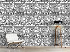 Design #Tapete Gewirr Curtains, Shower, Rugs, Prints, Design, Home Decor, Self Adhesive Wallpaper, Wall Papers, Monochrome