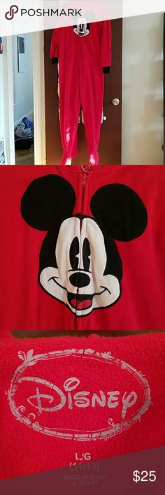 NWOT Disney Mickey Mouse Long-Sleeved Onesie Disney red Mickey Mouse long-sleeved onesie with hood. Size large. Two front pockets. Zip up. Texture on bottom of footies. Ears on hoodie. Excellent condition. New without tags. Disney Intimates & Sleepwear Pajamas