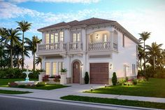Plan 735004CAR: 3 Bed Modern Mediterranean House Plan With 6 Upstairs Balconies