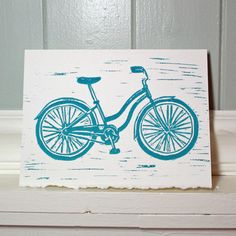 Woman's Bicycle linocut card by redmaplestudio on Etsy, $7.50