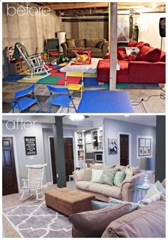 Finished Basement Ideas - Before  After. Love the grey, white and dark doors.