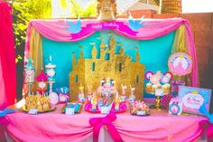 Amazing dessert table at a princess birthday party! See more party planning ideas at CatchMyParty.com!