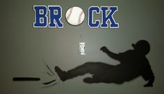 """Hand painted silhouette of baseball player sliding into home plate. Name with baseball for the """"O"""". Boy Sports Bedroom, Baseball Players, Hand Painted, Silhouette, Plates, Decorating, Ideas, Home, Licence Plates"""