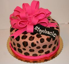 Leopard Print Birthday cake switch the pink for purple