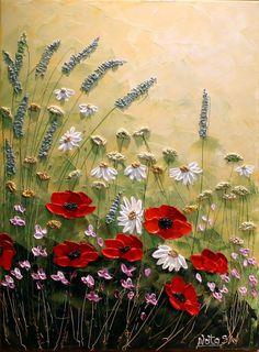 Original Modern Flower Painting.Palette van NataSgallery op Etsy