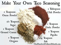 Have you ever read the ingredients on the back of a packet of taco seasoning? Maltodextrin, monosodium glutamate, silicon dioxide, soybean oil and malic acid are just a few I noticed. Want a healthy alternative? Try this recipe for taco seasoning, not...