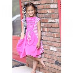 KidCuteTure Girl Pink Stripe Tie Pocket Knit Summer Dress Size 2-16