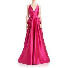 ML Monique Lhuillier Double V Satin Gown