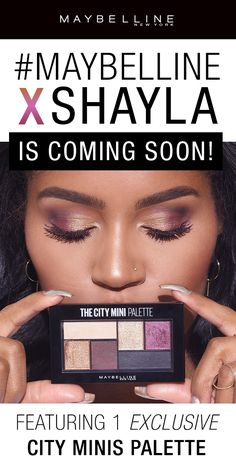 Maybelline's first ever beauty influencer collaboration is here! We collaborated with MakeupShayla to create an exclusive eye makeup collection!  This collection  features an exclusive City Minis Eyeshadow Palette featuring gold, bronze, purple, and black eyeshadows for a day to night look. Coming soon exclusively on maybelline.com and ulta.com!