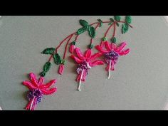 - Amazing embroidery How to embroider fuchsia Brazilian flower embroidery Stitches : Branches: coaching Leaves : Fly stitch Fuchsia flower : 1 way. Hand Embroidery Patterns Flowers, Hand Embroidery Videos, Hand Embroidery Designs, Brazilian Embroidery Stitches, Types Of Embroidery, Diy Embroidery, Rangoli Designs Flower, Fuchsia Flower, Flower Tutorial