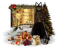 """""""Black and Gold Celebration"""" by kmlvr9 ❤ liked on Polyvore featuring Nearly Natural, Notte by Marchesa, Global Views and Sebastian Milano"""